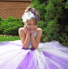 Flower Girl Purple and Ivory Tutu Dress with a by simplyyarn27