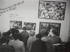"1937 Munich exhibition of Degenerate Art.  The Nazis considered this art to be contradictory to their vision for Germany, yet they still exhibited them in order to ""teach"" the people what unacceptable art looked like.  Maybe not so surprising, the exhibit proved to be far more popular with Germans than the Nazi-sanctioned museums."