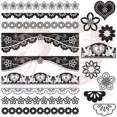 mexican border designs | Papel Picado Borders Digital Clip Art Mexican Design Elements Clipart ...