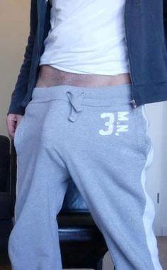 Hot dudes cock bulging in sweatpants