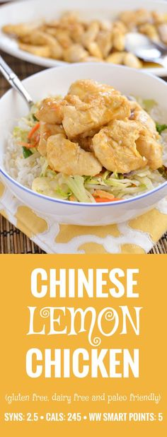 Slimming Eats Chinese Lemon Chicken - gluten free, dairy free, paleo, Slimming World and Weight Watchers friendly (Gluten Free Recipes Asian) Diet Recipes, Cooking Recipes, Healthy Recipes, Recipes Dinner, Uk Recipes, Lemon Recipes, Turkey Recipes, Healthy Meals, Healthy Food