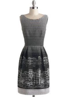 Scenes from the City Dress - Black, Stripes, Novelty Print, Pleats, Party, Quirky, Sleeveless, Spring, Winter, White, Exposed zipper, Sheath / Shift, Mid-length, Work