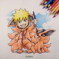 Naruto - Naruto rockin a 9 Tails Hoodie by Itsbirdy