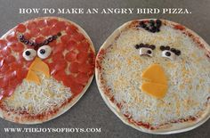 How to make Angry Birds Pizzas. Perfect for an Angry Birds party. www.thejoysofboys.com #AngryBirds
