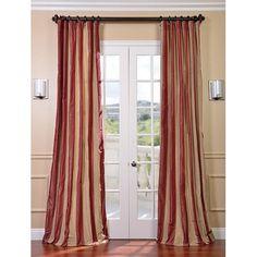 Rialto Faux Silk Taffeta Stripe Single Panel Curtain, 50 X 84 Half Price Drapes Drapery Se