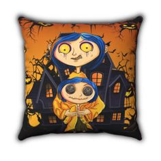 Coraline Doll Kids Bedroom Stuffed Pillow - 16x16 / Yellow / Polyester