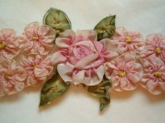 1920's ribbon work roses spray.  Swoon!