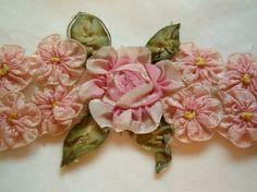 Antique Vintage Silk Ribbon Work
