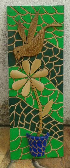 Quadro de bambu e madeira