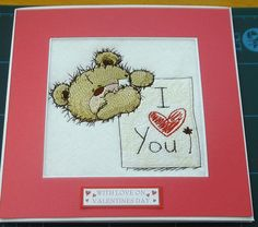 complete embroidered Valentine card 'Teddy Bear I Love You'