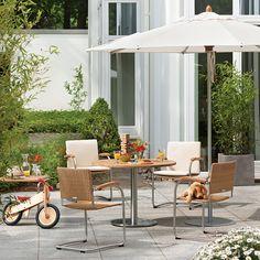 Bolero Freischwinger Geflecht stapelbar - Garpa Teak, Outdoor Furniture Sets, Outdoor Decor, Aluminium, Garden, Home Decor, Cantilever Chair, Stainless Steel, Garten