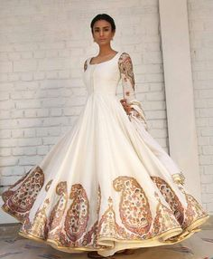 Embroidered Off White Anarkali