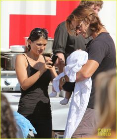 """Jared Padalecki and his wife Genevieve Cortese bring their baby boy Thomas to a Food Truck Festival on Sunday (July 29) in Vancouver, Canada. """""""