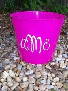 Personalized Buckets for children features personalized boy  name or 3-letter monogram with vinyl. Use a personalized bucket to fill with goodies, a personalized tub for books, stuff with goodies for a baby shower, or use in a guest bathroom with washcloths featuring your family name.