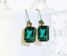 Emerald Earrings Vintage 50's West German Emerald Green Glass Rhinestone Earrings May Birthstone Prom Wedding Jewelry Bridesmaid Jewelry on Etsy, $17.95