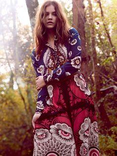 Retro 70's Print & Pattern - Womenswear. Barbara Palvin by Regan Cameron for Harper's Bazaar UK March 2015