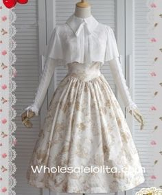 Two Pieces Chiffon & Satin Elegant Ivory Printing Classic Lolita Dress