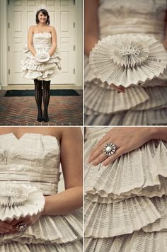 """The dress and bouquet made entirely out of """"The Princess Bride"""" book pages. Fun blog by Caroline Prietz Photography"""