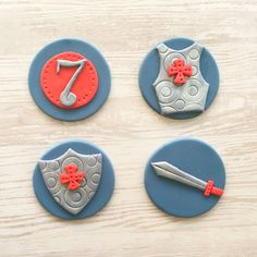 12 Knights Armors Swords and Shields Fondant Cupcake Toppers