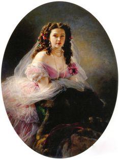 Portrait of Varvara Dmitrievna Korsakova by Franz Xaver Winterhalter, 1858 Russia, the Penza Savitsky Art Gallery