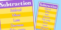 This poster features a load of great vocabulary to use when teaching and learning about subtraction. (Helpful hint: remember to change your print settings to 'shrink to printable area' to ensure your poster fits together perfectly! Addition And Subtraction, Vocabulary, Helpful Hints, Teaching, Poster, Useful Tips, Addition And Subtraction Practice, Education, Billboard