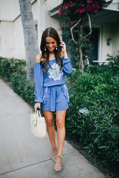 lauren sims blue off the shoulder romper
