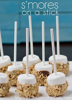S'mores on a stick - large marshmallow on stick dipt in chocolate & rolled in crushed graham cracker.