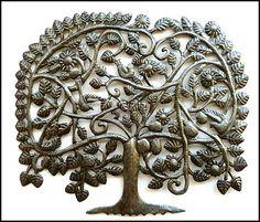 "34"" Tree Metal Wall Hanging  Handcrafted - Haitian Steel Drum Art - by HaitianMetal, $159.95"