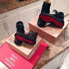 She made a Louboutin sneakers cake. Here it is next to the real sneakers.