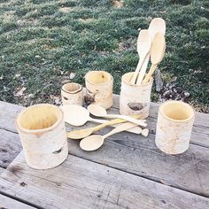 Silver Birch shrink pots and spoons