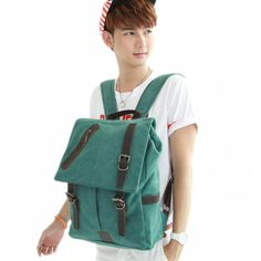Square Japan and Korean Style Canvas Casual Backpacks for Men