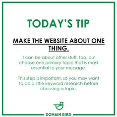 Today's Tip - Make the website about one thing. Online Campaign, Today Tips, Digital Marketing Services, Your Message, Messages, Website, How To Make, Text Posts