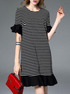 Shift Stripes Ruffled Casual Frill Sleeve Midi Dress