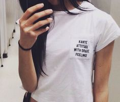 Kanye Attitude Drake Feeling White Pocket T shirt - Fresh-tops.com