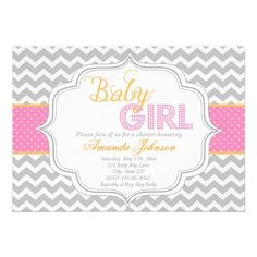 Baby Girl Mod Chic Chevron Baby Shower Invite