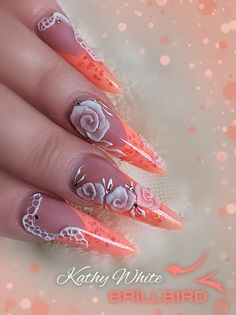 Orange neon French acrylic Russian almond nails with 3D design using beautiful Brillbird 3D forming gel