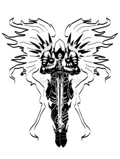 silhouette drawing of tyrael google search tattoos pinterest tattoo. Black Bedroom Furniture Sets. Home Design Ideas