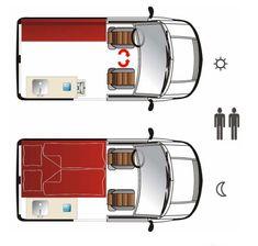 Wohnmobilausbau Nissan NV Evalia Grundriss