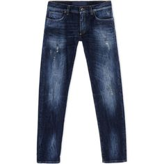 Dolce & Gabbana Denim Trousers ($515) ❤ liked on Polyvore featuring men's fashion, men's clothing and blue