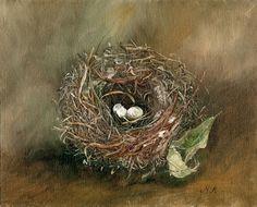 Maryjo Koch, Dark Eyed Junco Nest with Dry Leaf, oil on canvas