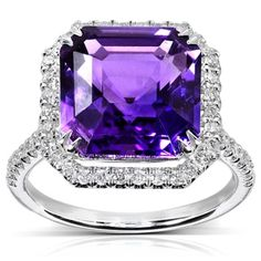 Annello by Kobelli 10k White Gold 6 1/10ct TCW Amethyst and Halo Diamond Ring (H-I, I1-I2