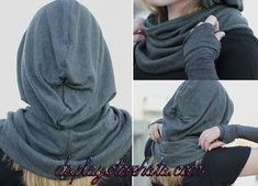 Idea for Prayer hoods for women and girls. Diy Fashion, Ideias Fashion, Fashion Outfits, Womens Fashion, Diy Clothing, Sewing Clothes, Hooded Cowl, Diy Vetement, Cowl Scarf
