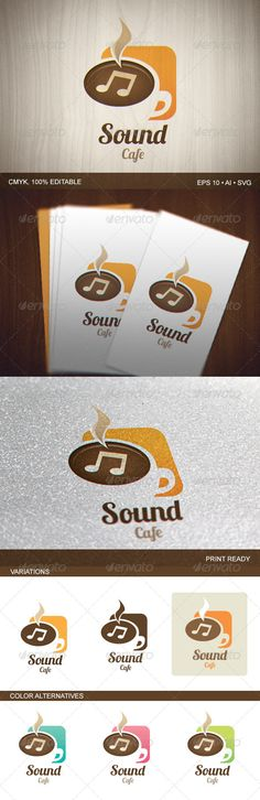 Sound Cafe Logo — Vector EPS #business #drink • Available here → https://graphicriver.net/item/sound-cafe-logo/6962788?ref=pxcr
