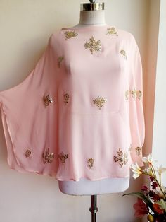 Powder Pink Gota Patti Cape by Label Kanupriya/ WhatsApp 9694496961/ https://www.labelkanupriya.com/collections/capes/products/powder-pink-gota-patti-cape