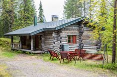 Traditional log cabin in Kelosyöte area of Syöte. Cabins And Cottages, Skiing, Traditional, Forests, House Styles, Home Decor, Ski, Decoration Home, Room Decor