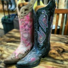 Cowgirl Clad Company - Corral R1190 Black/Fluorescent Pink Boot (Boot on the RIGHT), $270.00 (http://www.cowgirlclad.com/corral-r1190-black-fluorescent-pink-boot-boot-on-the-right/)