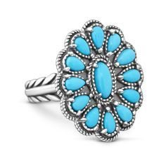 Iconic style in a Sleeping Beauty turquoise ring inspired by traditional Zuni and Navajo jewelry. This is a ring to wear proudly as a tribute to the American West.