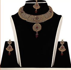 #Maroon, #Green and #White Stone Studded #Necklace Set @ $161.48