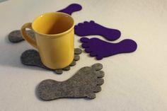 Felt Coaster Foot Shape Set of 4 by FeelMyCraft on Etsy