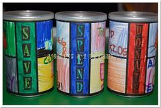 Save, Spend, Donate money cups for kids